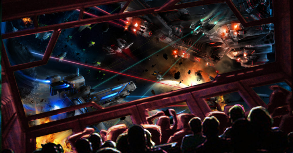 Space movie theatre where a large group of people are watching on screen space ships shooting lazers at each other