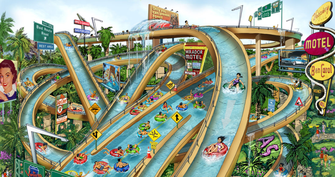 Lotte World Kimhae waterslide render - hotel signage road signs to make it feel like you're driving on the road.