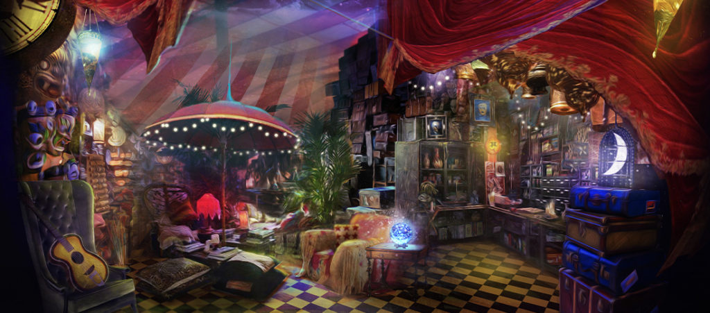 Inside the mystical red circus tent with a bar seating area, lush chairs, and an umbrella with twinkle lights