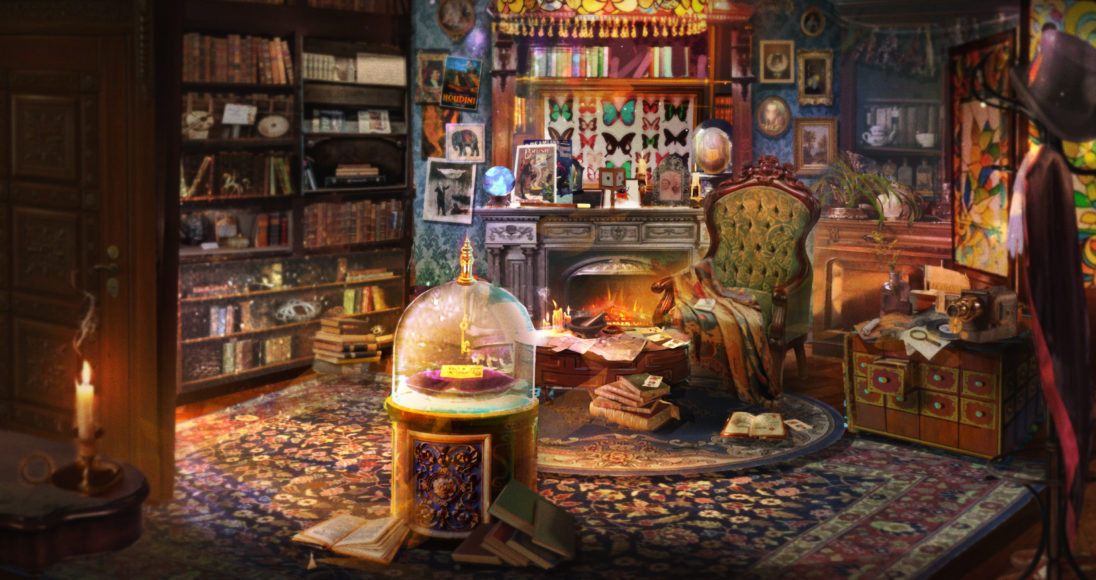 The Magicians' Hideaway Room filled with books, a green lush chair and a magical crystal ball